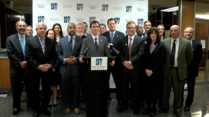 Mayor Noam Bramson announces approval of the plan with City officials and the development team.