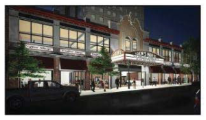 Renovated theater facade leading to cultural center.