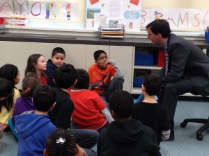 Noam with Jefferson Third-Graders