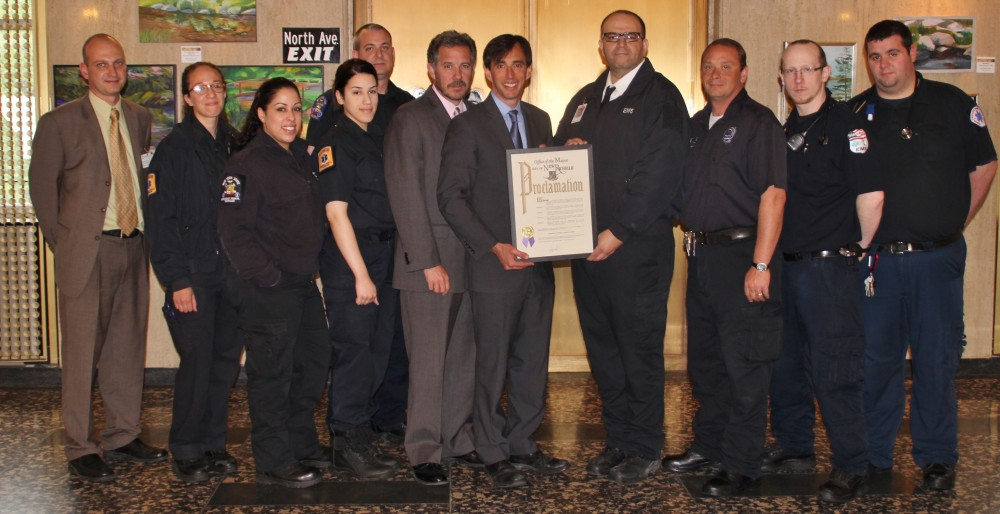 Noam Bramson recognizes EMS week at New Rochelle CIty Hall.