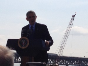 President Obama with the Tappan Zee Bridge.