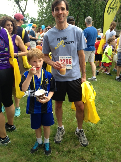 Noam Bramson with Owen Bramson, enjoying a well-earned post-race treat..