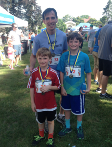 Jeremy, Owen, and Noam after the North Avenue Mile.