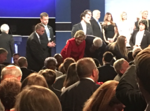 Hillary greets the crowd after the debate.
