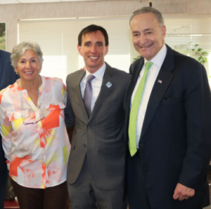 Phillis Maucieri, Exec Dir of the New Rochelle Office of the Aging, Mayor Noam Bramson, Senator Chuck Schumer.