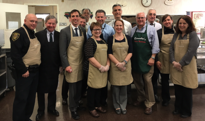 Stylin' in our aprons for Thanksgiving lunch at the Doyle Center.