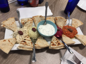 We shared a plate of really tasty dips.